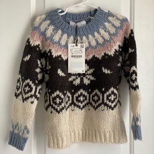 ZARA Girls Jaquard Knit Sweater